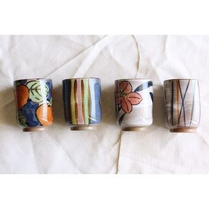 Other - 🎉 Host Pick 🎉 Set of 4 Painted Ceramic Cups